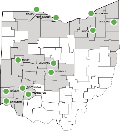 Ohio Living map of locations